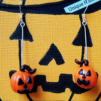 Sterling Silver Pumpkin Drop Earrings