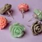 Set of Three Pastel Flower Stud Earrings