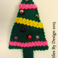 Xmas Tree Felt Brooch