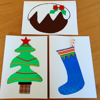 Set of Three Holographic Christmas Themed Cards