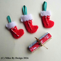 1:12 Scale Christmas Stockings with Candy Canes & Wrapping Paper