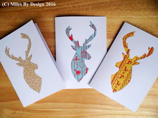 3 Stag Christmas Cards