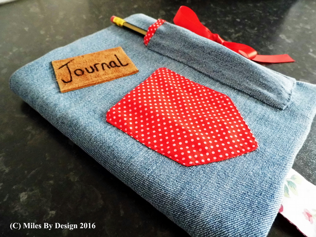 A5 Denim Covered Journal or Notebook In Vintage Styling