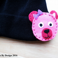 Girls Beanie Hat with 3 Interchangeable Motifs