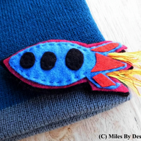 Boys Rocket Beanie Hat with Extra Embellishment