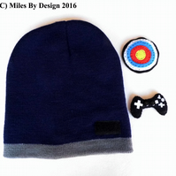 Boys Beanie Hat with 2 Interchangeable Motifs