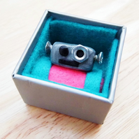 Polymer Clay Robot Head on Adjustable Ring