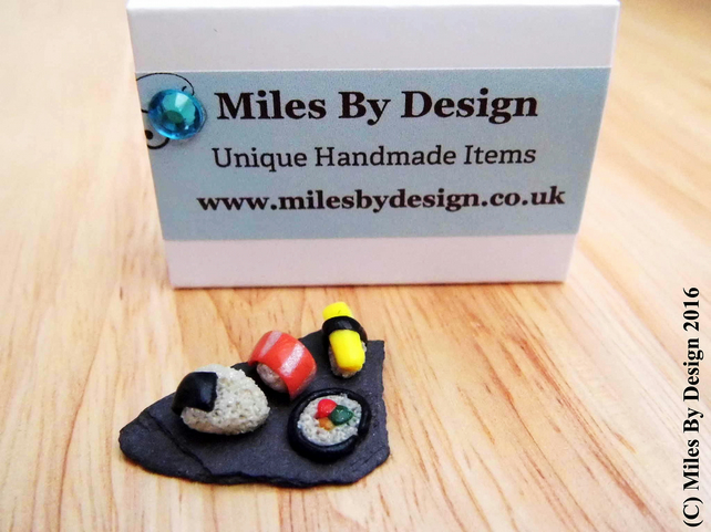 Miniature Sushi on Triangle Slate Board for Dolls House