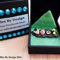 Miniature Sushi Brooch on Slate Plate