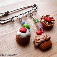 Kilt Pin Brooch with Handmade Polymer Clay Charms