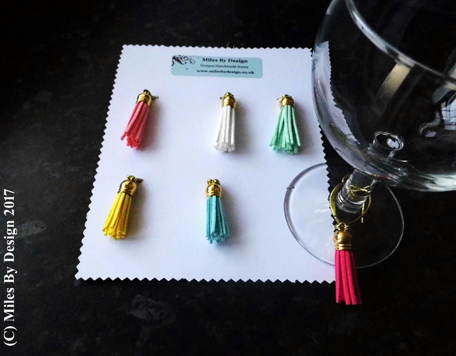 Six Wine Glass Charms or Markers
