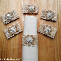 Set of Six Vintage Style Napkin Rings
