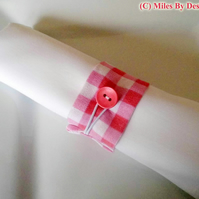 Set of Six Pink Gingham Napkin Rings
