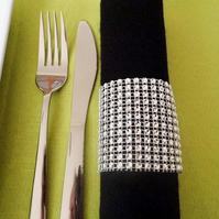 Set of Six Diamanté Style Napkin Rings