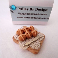 Miniature Hot Cross Buns Board for Dolls House