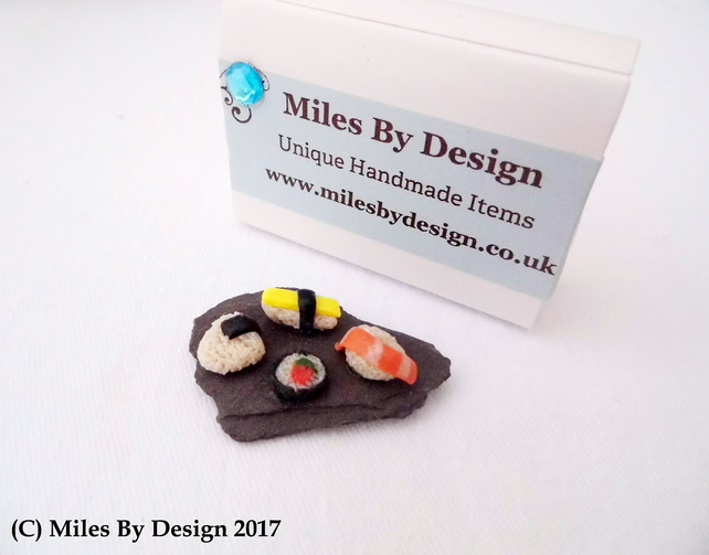 Miniature Sushi on Slate Board For Dolls House