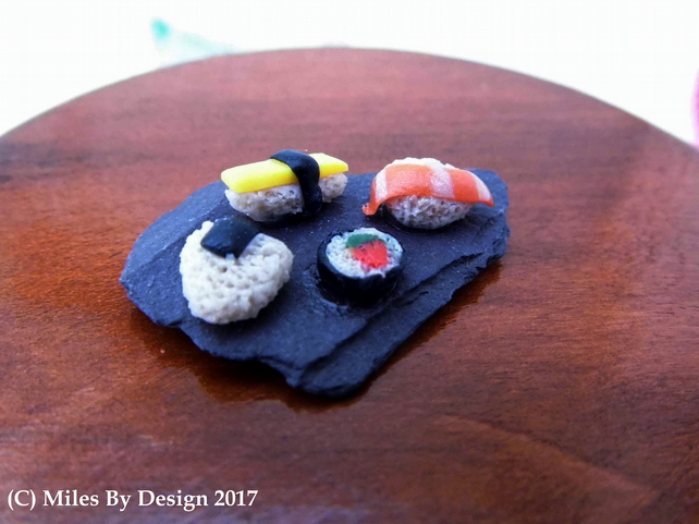 Miniature Sushi on Slate Board For Dolls House - Food