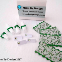 1:12 Scale Green & Floral Dolls House Table Setting