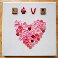 Handmade Button Heart Canvas