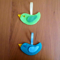 Hanging Bird Duo Kit Decoration - Blue