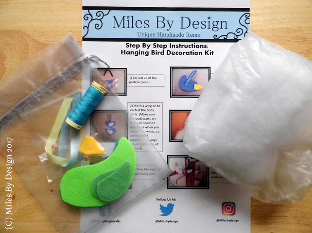 Make your own Bird Decoration Kit - Blue