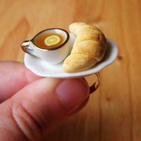 Miniature Croissant and Lemon Tea Adjustable Ring - Food
