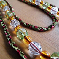 Ribbon & Bead Necklace with Magnetic Clasp