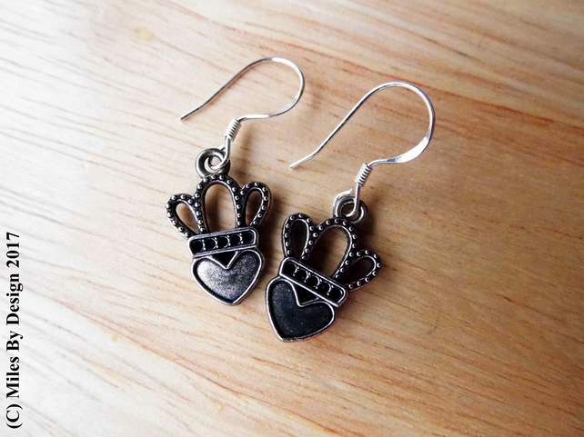 Heart and Crown (Luckenbooth) Drop Earrings on Sterling Silver Ear Hooks