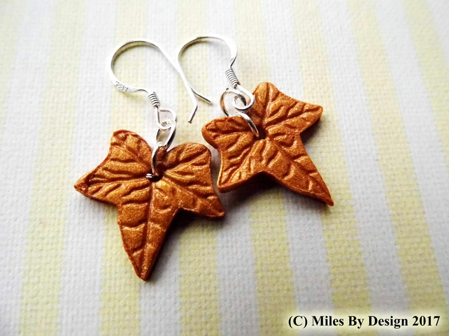 Autumn Leaf Inspired Drop Earrings on Sterling Silver Ear Hooks