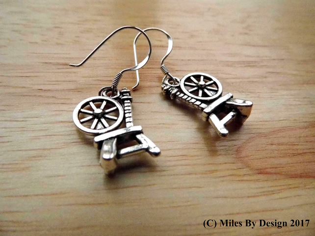 Spinning Wheel Drop Earrings on Sterling Silver Ear Hooks