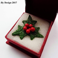 Christmas Holly Pin