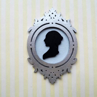 1:12 Scale Cameo Silhouette Picture in a Wooden Frame