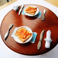 1:12 Scale Beans on Toast Breakfast Plate Set for Two
