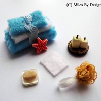 1:12 Scale Luxury Bathroom Set with Blue Towel Bale & Accessories