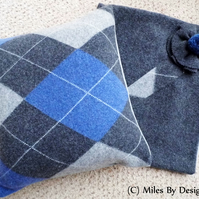 Pack of Two Grey and Blue Tartan Wool Cushion Covers - Including Cushion Pad