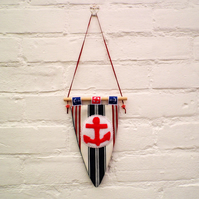 Nautical Flag Hanging Decoration With Anchor Detail