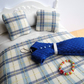 1:12 Scale Cream & Blue Check Dolls House Bedding With Dress, Necklace and Bag