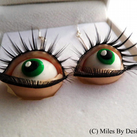 Sterling Silver Unique Eyes with Lashes Drop Earrings