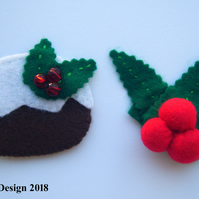 Two for One Interchangeable Motifs Xmas Brooch