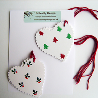 Heart Shaped Christmas Gift Tags (Pack Of Six)