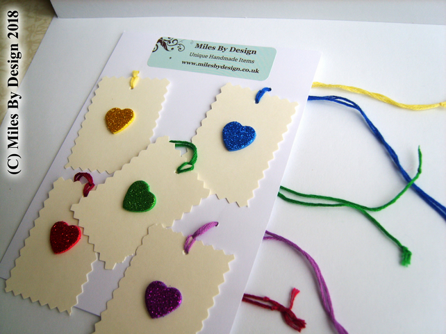 Glitter Heart Gift Tags ( Pack of Five )
