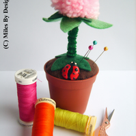 Flower Pot With Ladybird Pin Cushion