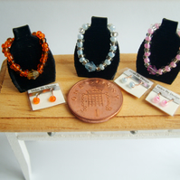 1:12 Scale Set of 3 Necklaces On Display Stands With Matching Earrings