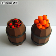 Two Miniature Fruit Barrels for Dolls House