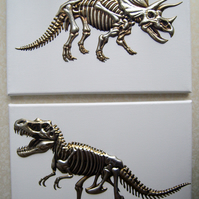 Set of Two Dinosaur Canvases