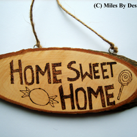Home Sweet Home Wooden Pyrography Plaque Hanging
