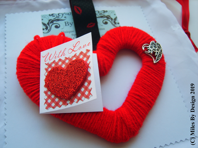 Red Wool Heart Hanging Valentines - Anniversary With Card