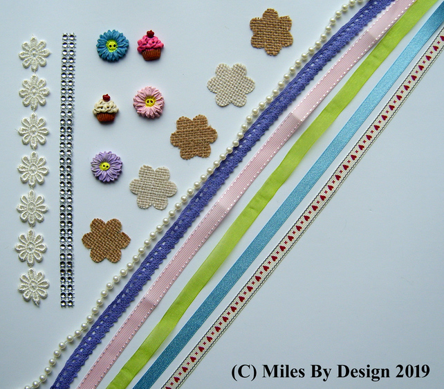 Cardmaking - Scrapbooking Pack Including Handmade Buttons and Embellishments