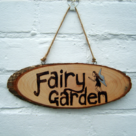 Fairy Garden Wooden Pyrography Plaque Hanging