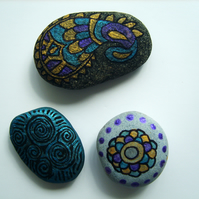 Trio of Hand-painted Mandala Inspired Stones